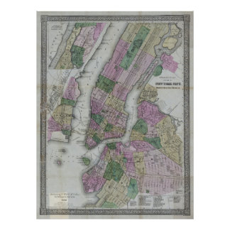COLTON's NEW YORK CITY MAP 1866 Poster