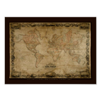 COLTONS Old World Map c1847 Poster