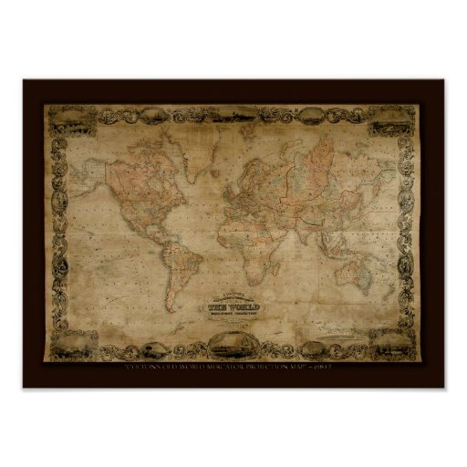 COLTONS Old World Map c1847 Poster Zazzle