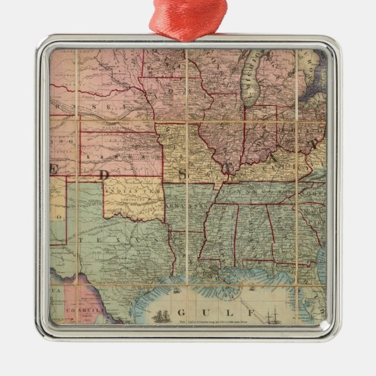 Colton's Railroad And Military Map Metal Ornament