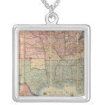 Colton's Railroad And Military Map Square Pendant Necklace