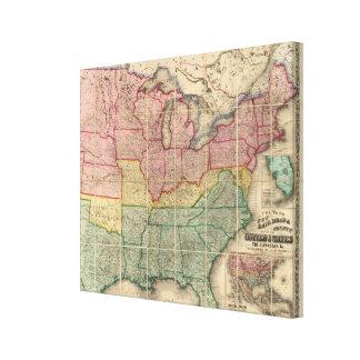 Colton's Railroadand County Map, United States Canvas Prints