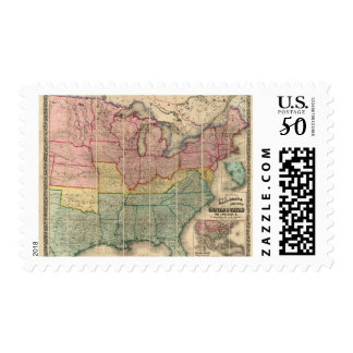 Colton's Railroadand County Map, United States Postage