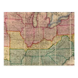 Colton's Railroadand County Map, United States Postcard