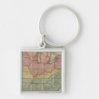 Colton's Railroadand County Map, United States Silver-Colored Square Keychain