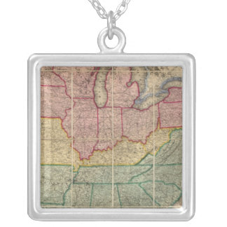 Colton's Railroadand County Map, United States Silver Plated Necklace