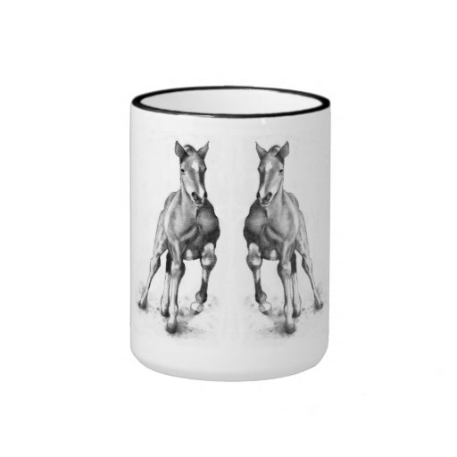 Colts, Horses Running Side by Side: Pencil Coffee Mug