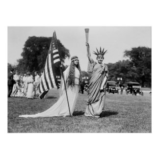 Columbia and Lady Liberty, 1919 Poster