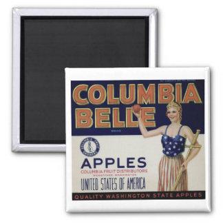 "Columbia Belle Vintage Apple Crate Label"" Magnet"
