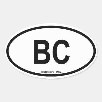 "Columbia Británica ""A.C. "" Calcomania Ovaladas Personalizadas"