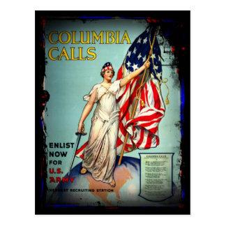 """Columbia Calls, """"Enlist Now!"""" Postcard"""