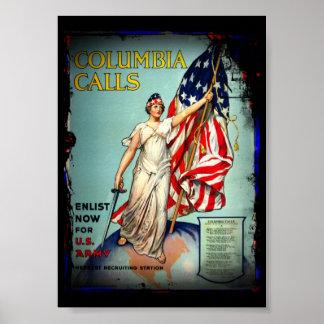 "Columbia Calls, ""Enlist Now!"" Poster"