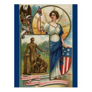 Columbia con el casquillo, el escudo y Eagle de Tarjeta Postal