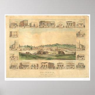 Columbia, mapa panorámico 1855 (0441A) del CA Póster