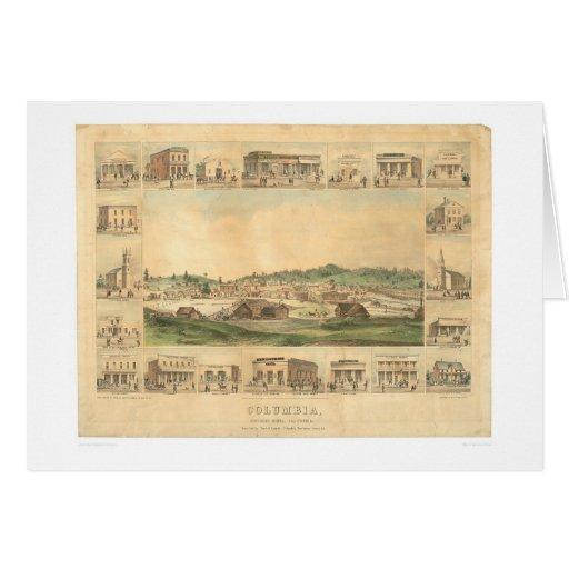 Columbia, mapa panorámico 1855 (0441A) del CA Tarjeta De Felicitación