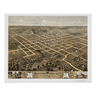 Columbia, mapa panorámico del MES - 1869 Póster