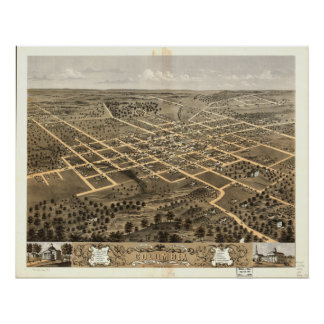 Columbia Missouri 1869 Antique Panoramic Map Poster