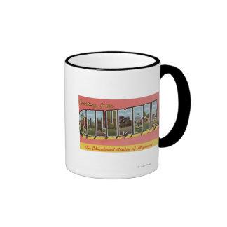 Columbia, Missouri - Large Letter Scenes Ringer Coffee Mug