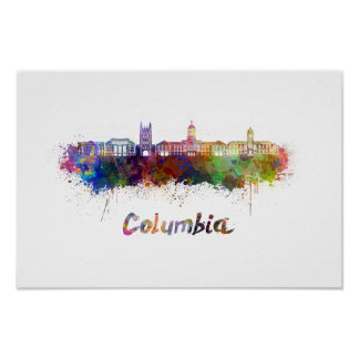 Columbia MO skyline in watercolor Poster