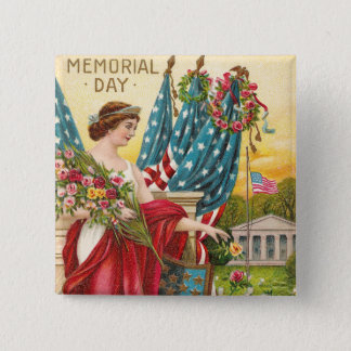 Columbia Observes Memorial Day Vintage Pinback Button