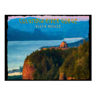 Columbia River Gorge and Vista House retro print Postcard