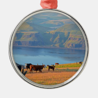 Columbia River Gorge Round Metal Christmas Ornament
