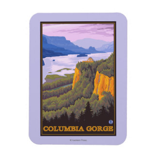 Columbia River Gorge Scene with Crown Point Magnet