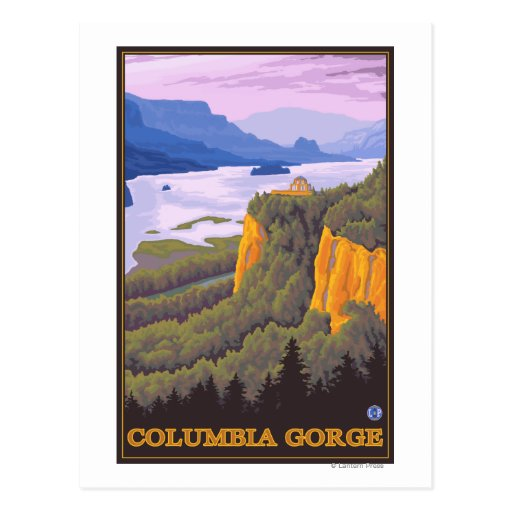 Columbia River Gorge Scene with Crown Point Post Card