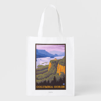 Columbia River Gorge Scene with Crown Point Reusable Grocery Bags