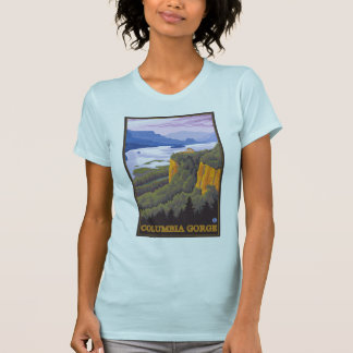Columbia River Gorge Scene with Crown Point T-Shirt