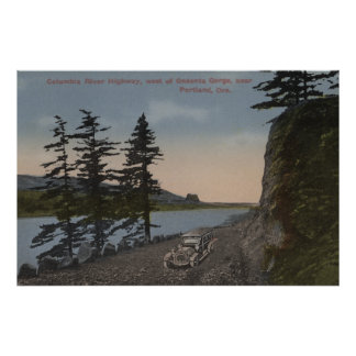 Columbia River, Oregon - Highway West of Oneonta Poster