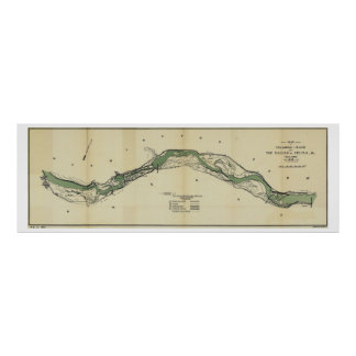 Columbia River Washington Antique Map Poster