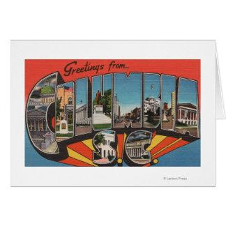 Columbia, South Carolina - Large Letter Scenes 2 Greeting Card