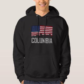 Columbia South Carolina Skyline American Flag Dist Hoodie
