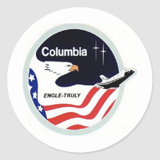 columbia space shuttle classic round sticker