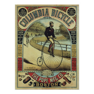 Columbia Vintage Penny Farthing Bicycle Poster