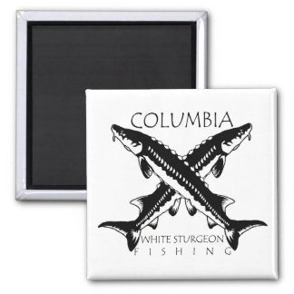 Columbia-White Sturgeon Fishing - Square Magnet