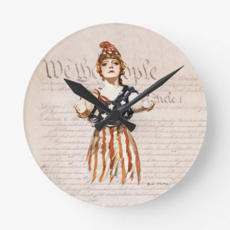 Columbia with Outstretched Arms w/Constitution Round Clock