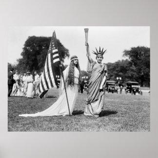 Columbia y señora Liberty, 1919 Póster