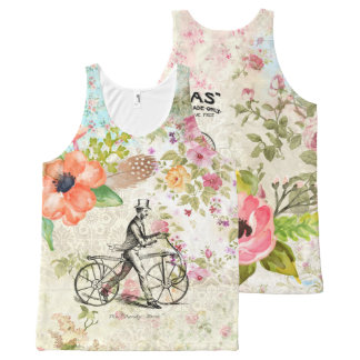 Columbias Bicycles Vintage Illustration All-Over Print Tank Top
