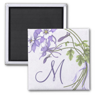 Columbine Bouquet Monogram Magnet