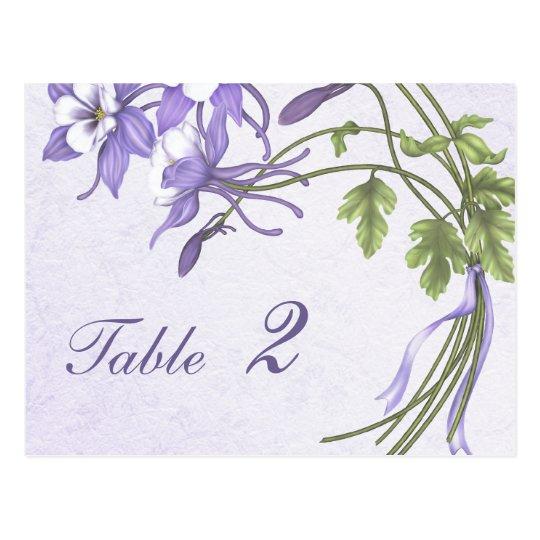 Columbine Bouquet Table Number (postcard) Postcard