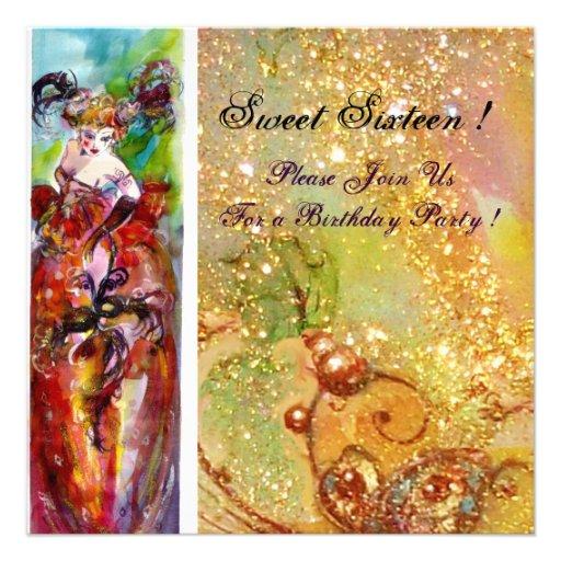 COLUMBINE, fiesta de la mascarada del dulce diecis Anuncios