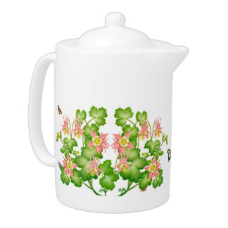 Columbine Floral Garden Teapot
