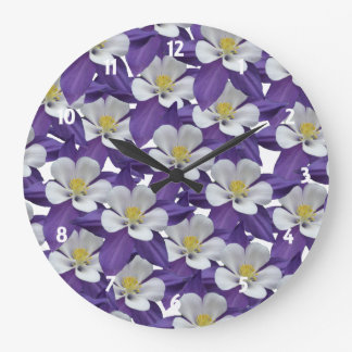 Columbine Flower Pattern Large Clock