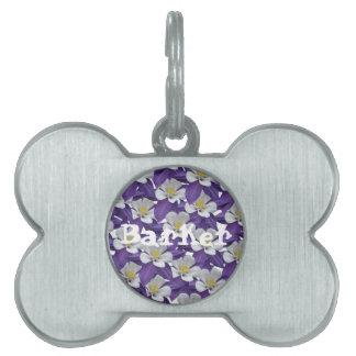 Columbine Flower Pattern Pet ID Tag