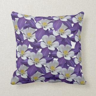 Columbine Flower Pattern Square Throw Pillow
