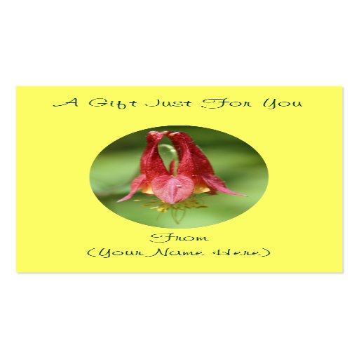 Columbine flower personalized gift card tag business cards for Personalized gift cards for businesses