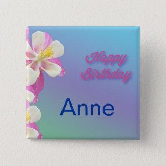 Columbine Flower Pink & White Button