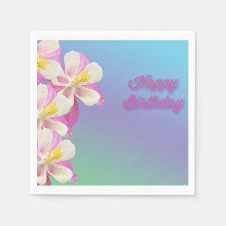 Columbine Flower Pink & White Paper Napkin